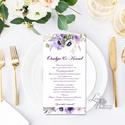 Esküvői meghívó, Tenger kék, virágok, virágos, lila, romantikus, nyugalmas, virágcsokor, Esküvő, Naptár, képeslap, album, Meghívó, ültetőkártya, köszönőajándék, Esküvői dekoráció, Minőségi Esküvői Virágos Meghívó ** MEGHÍVÓ BORÍTÉKKAL ** -  Meghívó lap, egy oldalas: hátulja üres ..., Meska
