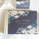 Esküvői Emlékkönyv, Sötét szürke pezsgő gerinc, Vendégkönyv, könyv, fehér virágos, virág, elegáns, Esküvői vendégkönyv, , Esküvő, Naptár, képeslap, album, Nászajándék, Esküvői dekoráció, Esküvői emlékkönyv, vendégkönyv Sötét cián-szürke borító pezsgő gerinccel krém szalaggal.  MÉRET: Fe..., Meska