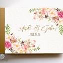 Esküvői Emlékkönyv, gyűrűs fotó mappa Vendégkönyv, virágos könyv, virág, elegáns, rózsás, rózsaszín, arany, rosegold, Esküvői emlékkönyv, vendégkönyv Arany gerinc...