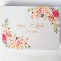 Esküvői Emlékkönyv, gyűrűs fotó mappa Vendégkönyv, virágos könyv, virág, elegáns, rózsás, rózsaszín, arany, rosegold, Esküvő, Naptár, képeslap, album, Nászajándék, Esküvői dekoráció, Esküvői emlékkönyv, vendégkönyv Elegáns gyöngyház gerinccel  MÉRET: Fekvő A5 Ha szükséges más méret ..., Meska