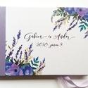 Esküvői Emlékkönyv, Lila levendulás, Vendégkönyv, könyv, rusztikus, bohém, virágos, Esküvői vendégkönyv, levendula, réti, Esküvő, Naptár, képeslap, album, Nászajándék, Esküvői dekoráció, Esküvői emlékkönyv, vendégkönyv Lila gerinccel és szalaggal  MÉRET: Fekvő A5 Ha szükséges más méret ..., Meska