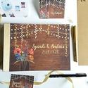Esküvői Emlékkönyv, gyűrűs fotó mappa Vendégkönyv, rétivirágos könyv, arany, pipacs, pajta, rusztikus, bohém, fényfüzér, Esküvő, Naptár, képeslap, album, Nászajándék, Esküvői dekoráció, Esküvői emlékkönyv, vendégkönyv Arany gerinccel   MÉRET: Fekvő A5 Ha szükséges más méret is kérhető...., Meska