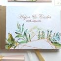 Greenery Esküvői Emlékkönyv, Vendégkönyv, könyv, Esküvői vendégkönyv, zöld levél, eukaliptusz, geometrikus, arany, Esküvő, Naptár, képeslap, album, Nászajándék, Esküvői dekoráció, Esküvői emlékkönyv, vendégkönyv arany gerinccel és szalaggal  MÉRET:  Fekvő A5 HA szükséges más mére..., Meska