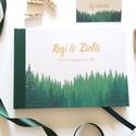 Greenery Esküvői Emlékkönyv, Vendégkönyv, könyv, Esküvői vendégkönyv, zöld levél, fenyves, fenyő, erdő, erdei, Esküvői emlékkönyv, vendégkönyv zöld gerinc...