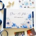Esküvői Emlékkönyv, gyűrűs fotó mappa Vendégkönyv, természetközeli könyv, elegáns, kék virágos, virágos, Esküvő, Naptár, képeslap, album, Nászajándék, Esküvői dekoráció, Esküvői emlékkönyv, vendégkönyv Kék gerinccel  MÉRET: Fekvő A5 Ha szükséges más méret is kérhető. A4..., Meska