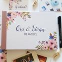 Esküvői Emlékkönyv, gyűrűs fotó mappa Vendégkönyv, természetközeli könyv, elegáns, kék virágos, virágos, mályva, pink, Esküvő, Naptár, képeslap, album, Nászajándék, Esküvői dekoráció, Esküvői emlékkönyv, vendégkönyv Mályva gerinccel  MÉRET: Fekvő A5 Ha szükséges más méret is kérhető...., Meska