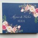 Esküvői Emlékkönyv, gyűrűs fotó mappa Vendégkönyv, természetközeli könyv, navy kék, sötétkék, rózsás, rosegold, elegáns, Esküvő, Naptár, képeslap, album, Nászajándék, Esküvői dekoráció, Esküvői emlékkönyv, vendégkönyv NAvy-sötétkék borítóval és gyöngyház gerinccel  MÉRET: Fekvő A5 Ha s..., Meska