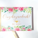 Esküvői Emlékkönyv, Vendégkönyv, virágos könyv, virág, elegáns, rózsás, rózsaszín, rózsakert, romantikus, Esküvő, Naptár, képeslap, album, Nászajándék, Esküvői dekoráció, Esküvői emlékkönyv, vendégkönyv arany gerinccel és arany szalaggal  MÉRET: Fekvő A5 Ha szükséges más..., Meska