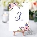 Asztalszám kártya, Ültetési rend, Dekoráció, kellék, Esküvői lap, Esküvő Dekor, Esküvői felirat, kártya, virágos, Esküvő, Dekoráció, Esküvői dekoráció, Kép, 10x15 cm-es ASZTALSZÁM Esküvői kártya / Lap. Standard álló képkeretbe, asztalra.  Egyéb méretek kérh..., Meska