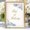 Férj és feleség felirat, asztalszám, desszert asztal, Dekoráció, Esküvői lap, Esküvő Dekor, Esküvői felirat, kövirózsa, Esküvő, Dekoráció, Esküvői dekoráció, Kép, 10x15 cm-es esküvői felirat Esküvői kártya / Lap.  Standard álló képkeretbe, asztalra.  VÁSÁRLÁSKOR ..., Meska