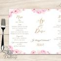 Esküvői Menü, menüsor, itallap, italok, asztalszám, természetközeli, virágos, romantikus, nyugalmas, Esküvő, Dekoráció, Meghívó, ültetőkártya, köszönőajándék, Esküvői dekoráció, Esküvői Virágos Álló Háromszög Menü Szalaggal  Esküvői Menükártya Álló 3szög forma, 1 oldal: 20x9,5c..., Meska