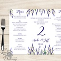 Esküvői Menü, menüsor, itallap, italok, asztalszám, természetközeli, virágos, romantikus, nyugalmas, levendulás, Esküvő, Dekoráció, Meghívó, ültetőkártya, köszönőajándék, Esküvői dekoráció, Esküvői Virágos Álló Háromszög Menü Szalaggal  Esküvői Menükártya Álló 3szög forma, 1 oldal: 20x9,5c..., Meska