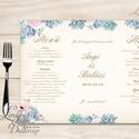Esküvői Menü, menüsor, itallap, italok, asztalszám, természetközeli, virágos, romantikus, nyugalmas, kövirózsa, Esküvő, Dekoráció, Meghívó, ültetőkártya, köszönőajándék, Esküvői dekoráció, Esküvői Virágos Álló Háromszög Menü Szalaggal  Esküvői Menükártya Álló 3szög forma, 1 oldal: 20x9,5c..., Meska