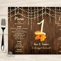 Esküvői Menü, menüsor, itallap, italok, asztalszám, egyedi, mintás, romantikus, nyugalmas, faminta, Esküvő, Dekoráció, Meghívó, ültetőkártya, köszönőajándék, Esküvői dekoráció, Esküvői Virágos Álló Háromszög Menü Szalaggal  Esküvői Menükártya Álló 3szög forma, 1 oldal: 20x9,5c..., Meska