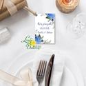 Köszönet kártya, ajándékkísérő,köszönet ajándék, esküvői kísérőkártya, köszönjük, virágos, romantikus, kék, kékes, Esküvő, Naptár, képeslap, album, Meghívó, ültetőkártya, köszönőajándék, Képeslap, levélpapír, Igényes köszönetkártya, ajándékkísérő lyukasztva szalaggal kötve  * MÉRETE: kb: 5.4 x 8 cm Más méret..., Meska
