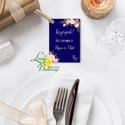 Köszönet kártya, ajándékkísérő,köszönet ajándék, esküvői kísérőkártya, köszönjük, virágos, romantikus, kék, sötétkék, Esküvő, Naptár, képeslap, album, Meghívó, ültetőkártya, köszönőajándék, Képeslap, levélpapír, Igényes köszönetkártya, ajándékkísérő lyukasztva szalaggal kötve  * MÉRETE: kb: 5.4 x 8 cm Más méret..., Meska
