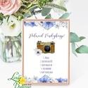 Polaroid fotó Esküvői Felirat A4, fénykép, fotó albumhoz, Esküvői kép, Esküvő Dekor, Esküvői felirat, virágos, kékes, Esküvő, Dekoráció, Esküvői dekoráció, Kép, A/4-es Esküvői Felirat Dekoráció, bármilyen szöveggel, keret nélkül.  Bármilyen feliratot kérhetsz r..., Meska