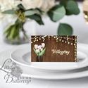 Esküvői ültetőkártya, ültető, famintás ültető, ültetésirend, hely kártya, romantikus, nyugalmas, mintás, fa, falap, Esküvő, Naptár, képeslap, album, Meghívó, ültetőkártya, köszönőajándék, Esküvői dekoráció, Igényes, sátras, két oldalas asztali ültetőkártya  MÉRETE összehajtva: kb: 4.5x9.2cm  * SZERKESZTÉSI..., Meska