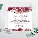 Bordó virágos meghívó, esküvői meghívó, romantikus, virágos lap, nyugalmas,  lbordó virágos lap, rózsa meghívó, marsala, Esküvő, Naptár, képeslap, album, Meghívó, ültetőkártya, köszönőajándék, Esküvői dekoráció, Minőségi  Esküvői  Meghívó  * MEGHÍVÓ CSOMAG BORÍTÉKKAL: - Meghívó egy lap, egy oldalas: kb.: 13cm x..., Meska