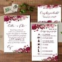 Bordó Virágos Esküvői meghívó, Pajta Esküvő, falu, Vintage Esküvői lap, bordó virágos lap, rózsa meghívó, marsala, Esküvő, Naptár, képeslap, album, Meghívó, ültetőkártya, köszönőajándék, Esküvői dekoráció, Minőségi Virágos Esküvői  Meghívó  * MEGHÍVÓ CSOMAG BORÍTÉKKAL: - 1.  -Meghívó lap, egy oldalas: kb...., Meska
