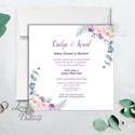 Lila virágos meghívó, esküvői meghívó, romantikus, virágos lap, nyugalmas,  lbordó virágos lap, rózsa meghívó, marsala, Esküvő, Naptár, képeslap, album, Meghívó, ültetőkártya, köszönőajándék, Esküvői dekoráció, Minőségi  Esküvői  Meghívó  * MEGHÍVÓ CSOMAG BORÍTÉKKAL: - Meghívó egy lap, egy oldalas: kb.: 13cm x..., Meska