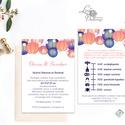 Elegáns Dupla oldlalas Esküvői meghívó,Nyári Esküvő, Modern, lampion, lampionok, kék-rózsaszín, Esküvő, Naptár, képeslap, album, Meghívó, ültetőkártya, köszönőajándék, Képeslap, levélpapír, Minőségi Esküvői Meghívó  * MEGHÍVÓ CSOMAG: - Meghívó lap, DUPLA oldalas nyomtatással: kb.: 14.3cmx1..., Meska