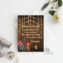Esküvői Meghívó, mintás meghívó,  natúr meghívó, ősz, őszi meghívó, falap, fa, minta, egyedi, Esküvő, Naptár, képeslap, album, Meghívó, ültetőkártya, köszönőajándék, Képeslap, levélpapír, Minőségi  Esküvői  Meghívó  * MEGHÍVÓ CSOMAG BORÍTÉKKAL: - Meghívó egy lap, egy oldalas: kb.: 14cm x..., Meska
