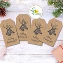 Vintage Karácsonyi Ajándékkísérő, újrahasznosított papír, Ünnepi kiskártya, ajándék, natúr, kraft, szarvas, agancs