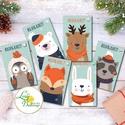 Állatos Karácsonyi Ajándékkísérő, erdei állat, Ünnepi kiskártya, ajándék, minimál design, szarvas, róka, maci, bagoly, Karácsonyi, adventi apróságok, Naptár, képeslap, album, Ajándékkísérő, képeslap, Ajándékkísérő, Ajándékkísérő kártya csomagra  1 CSOMAGBAN: 6db kártya van  * Mérete: 9.5x5.5cm * szalaggal kötve  2..., Meska
