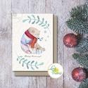 Karácsonyi Képeslap, Adventi Képeslap, Karácsonyi,  Karácsonyi üdvözlőlap, Ünnepi képeslap, jegesmedve, macis, medve, Dekoráció, Karácsonyi, adventi apróságok, Ünnepi dekoráció, Ajándékkísérő, képeslap, A/6-os méretű Igényes Egyedi Karácsonyi képeslap, borítékkal.  250 gsm matt, fehér vászon mintájú ki..., Meska