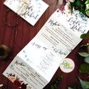 ÚJ harmónika hajtott meghívó, Őszi Esküvői meghívó, Rusztikus meghívó, Bohém, Natúr meghívó, erdei, természet közeli, Esküvő, Naptár, képeslap, album, Meghívó, ültetőkártya, köszönőajándék, Esküvői dekoráció, Minőségi különleges kivitelezésű harmónika-hajtott meghívó  * MEGHÍVÓ CSOMAG BORÍTÉKKAL: -   Harmóni..., Meska