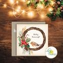 Madaras Karácsonyi Képeslap, Adventi Képeslap, Karácsonyi,  Karácsonyi üdvözlőlap, Ünnepi képeslap, madár, koszorú, Naptár, képeslap, album, Karácsonyi, adventi apróságok, Ajándékkísérő, képeslap, Igényes Egyedi Karácsonyi képeslap, borítékkal.  KIVITELEZÉS: Kinyitható, belül üres a saját kézzel ..., Meska