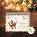 Vintage Karácsonyi Képeslap, Személyre szóló, egyedi, név, Karácsonyi üdvözlőlap, Ünnepi képeslap, posta, mikulás, régi, Dekoráció, Karácsonyi, adventi apróságok, Ünnepi dekoráció, Ajándékkísérő, képeslap, Igényes Egyedi Karácsonyi képeslap, borítékkal.  KIVITELEZÉS: 1 lapos 1 oldalas (NEM kinyitható) BOR..., Meska