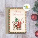 Karácsonyi Képeslap, vinatge, karácsonyi üdvözlőlap, ünnepi képeslap, posta, mikulás, régi, Dekoráció, Karácsonyi, adventi apróságok, Ünnepi dekoráció, Ajándékkísérő, képeslap, Igényes Egyedi Karácsonyi képeslap, borítékkal.  KIVITELEZÉS: Kinyithatós: beéül üres a saját, kézze..., Meska