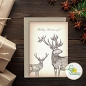 Karácsonyi Képeslap, vinatge, állatos, szarvas, agancs, szarvasos, régi, karácsonyi üdvözlőlap, ünnepi képeslap, , Dekoráció, Karácsonyi, adventi apróságok, Ünnepi dekoráció, Ajándékkísérő, képeslap, Igényes Egyedi Karácsonyi képeslap, borítékkal.  KIVITELEZÉS: Kinyithatós: beéül üres a saját, kézze..., Meska