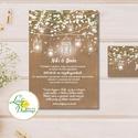 Fehér Virágos Esküvői meghívó, Esküvő, falu, Vintage Esküvői lap, lámpás, zsákvászon, burlap, Rusztikus, Bohém, , Esküvő, Otthon & lakás, Meghívó, ültetőkártya, köszönőajándék, Esküvői dekoráció, Naptár, képeslap, album, Minőségi Virágos Esküvői  Meghívó  * MEGHÍVÓ CSOMAG BORÍTÉKKAL: - 1.  Meghívó lap, egy oldalas: 10cm..., Meska