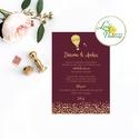Esküvői meghívó, Esküvő,  egyedi Esküvői lap, Bordó, hőlégbalon, arany, csillámos, csillám, romantikus, vörös, elegáns, Esküvő, Naptár, képeslap, album, Meghívó, ültetőkártya, köszönőajándék, Esküvői dekoráció, Minőségi Esküvői  Meghívó  * MEGHÍVÓ CSOMAG BORÍTÉKKAL: - Meghívó egy lap, egy oldalas: kb.: 14cm x ..., Meska