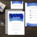 Esküvői meghívó, Esküvő, egyedi Esküvői lap, égbolt, csillagok, fehér, csillagos, égboltos, romantikus, kék, elegáns, ég, Esküvő, Naptár, képeslap, album, Meghívó, ültetőkártya, köszönőajándék, Esküvői dekoráció, Minőségi Virágos Esküvői  Meghívó  * MEGHÍVÓ CSOMAG BORÍTÉKKAL: - 1.  -Meghívó lap, egy oldalas: kb...., Meska