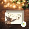 Karácsonyi Képeslap, vinatge, állatos, szarvas, agancs, szarvasos, régi, karácsonyi üdvözlőlap, ünnepi képeslap, , Dekoráció, Karácsonyi, adventi apróságok, Ünnepi dekoráció, Ajándékkísérő, képeslap, Igényes Egyedi Karácsonyi képeslap, borítékkal.  KIVITELEZÉS: Kinyithatós: belül üres a saját, kézze..., Meska