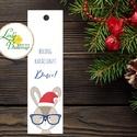 Karácsonyi Könyvjelző, állatos, Adventi ajándék, Vintage nyuszi Karácsonyi üdvözlőlap, Ünnepi lap, Vintage, fenyőfa, Dekoráció, Karácsonyi, adventi apróságok, Ünnepi dekoráció, Ajándékkísérő, képeslap, Személyre szóló ajándék könyvjelző  Méret: 14x4 cm  Választható színű szatén szalaggal.  Más felirat..., Meska