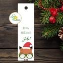 Karácsonyi Könyvjelző, Retro, Adventi ajándék, Vintage Karácsonyi üdvözlőlap, Ünnepi lap, Vintage, állatos, róka, Dekoráció, Karácsonyi, adventi apróságok, Ünnepi dekoráció, Ajándékkísérő, képeslap, Személyre szóló ajándék könyvjelző  Méret: 14x4 cm  Választható színű szatén szalaggal.  Más felirat..., Meska