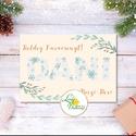 Karácsonyi Képeslap, névre szóló, személyre szóló, kék, sárga, régi, karácsonyi üdvözlőlap, ünnepi képeslap, klasszikus, Dekoráció, Karácsonyi, adventi apróságok, Ünnepi dekoráció, Ajándékkísérő, képeslap, Igényes névre szóló Karácsonyi képeslap, borítékkal.  KIVITELEZÉS: Kinyithatós: belül üres a saját, ..., Meska