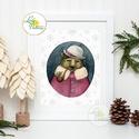 Vintage Karácsonyi Kép, Adventi Képeslap, Karácsonyi,  Karácsonyi print, Ünnepi kép, személyre szóló, állatos, téli, Dekoráció, Ünnepi dekoráció, Karácsonyi, adventi apróságok, Ajándékkísérő, képeslap, 13x18as méretű Igényes Egyedi Karácsonyi print  Felirat is kérhető a lapra!  250 gsm matt, művészpap..., Meska