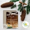 Téli Meghívó, Rusztikus esküvői meghívó, Vintage meghívó, lámpás, fenyő, toboz, karácsony, karácsonyi, tél, hó, havas, Esküvő, Karácsonyi, adventi apróságok, Ajándékkísérő, képeslap, Meghívó, ültetőkártya, köszönőajándék, Minőségi Téli Esküvői Meghívó  * MEGHÍVÓ CSOMAG BORÍTÉKKAL: - Meghívó egy lap, egy oldalas: kb.: 14c..., Meska