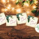 Karácsonyi Ajándékkísérő, vintage, Ünnepi kiskártya, ajándék, minimál design, kalligrafikus, rózsaszín, kesztyű, zokni, Dekoráció, Karácsonyi, adventi apróságok, Naptár, képeslap, album, Ünnepi dekoráció, Ajándékkísérő, képeslap, Ajándékkísérő, Vinatge stílusú natúr Ajándékkísérő kártya csomagra  1 CSOMAGBAN: 4db kártya van  * Mérete: 5x5cm * ..., Meska
