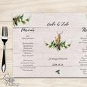 Esküvői Menü, menüsor, itallap, téli, rusztikus, szarvas, őz, lámpás, fenyő, toboz, karácsony, karácsonyi, tél, hó, Esküvő, Dekoráció, Meghívó, ültetőkártya, köszönőajándék, Esküvői dekoráció, Esküvői Virágos Álló Háromszög Menü Szalaggal  Esküvői Menükártya Álló 3szög forma, 1 oldal: 20x9,5c..., Meska