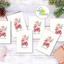 Autós Karácsonyi Ajándékkísérő, autó, auto, bogár, piros auto, fenyőfa, Ünnepi kiskártya, ajándék, minimál design, Dekoráció, Karácsonyi, adventi apróságok, Naptár, képeslap, album, Ünnepi dekoráció, Ajándékkísérő, képeslap, Ajándékkísérő, Ajándékkísérő kártya csomagra  1 CSOMAGBAN: 6db kártya van  * Mérete: 9.5x5.5cm * szalaggal kötve  2..., Meska