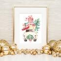 Autós kép, Retro, bogár, Vintage kép, Print,  karácsonyi kép, dekoráció, dekor, falikép, auto, Dekoráció, Karácsonyi, adventi apróságok, Ünnepi dekoráció, Karácsonyi dekoráció, A4-es Minőségi Print Lap, Nyomtatás  * KERET NÉLKÜL! *  * MÉRET: A4  * ANYAG:  250g-os kiváló minősé..., Meska