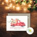 Autós Karácsonyi Képeslap, Retro, piros auto, bogár, fenyő, adventi Kártya, Karácsonyi üdvözlőlap, Vintage, fenyőfa, Dekoráció, Ünnepi dekoráció, Karácsonyi, adventi apróságok, Ajándékkísérő, képeslap, A/6-os méretű Igényes kinyitható Egyedi Karácsonyi képeslap, borítékkal.  Kinyitható, belül üres saj..., Meska