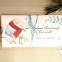 Karácsonyi ajándék, Pénzátadó boríték, utalvány átadó, céges ajándék, pénz, képeslap, személyre szóló, jegesmedve, maci, Dekoráció, Karácsonyi, adventi apróságok, Naptár, képeslap, album, Ünnepi dekoráció, Ajándékkísérő, képeslap, Ajándékkísérő, Igényes egyedi, személyre szóló Pénz-Átadó zsebes boríték szalaggal átkötve.  A Szöveg változtatható..., Meska